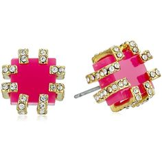 """Trina Turk """"Core"""" Stud Pave Detail Gold Pink Stud Earrings (360 GTQ) ❤ liked on Polyvore featuring jewelry, earrings, trina turk, gold jewellery, pave stud earrings, yellow gold jewelry and gold earrings"""