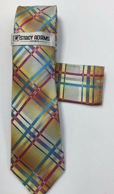Details about  /Stacy Adams Men/'s Tie /& Hanky Set Champagne Cobalt Blue Fuchsia Sage Microfiber