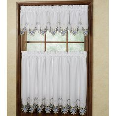 Bella Rose Embroidered Window Tiers - rose and ivory -29.99  Touch of Class.com