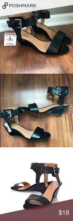 """NEW Nine West """"Pepperman"""" buckle ankle strap wedge Women's Nine West """"Pepperman"""" wedge sandals, size 8. They are new with tags. Black leather style with ankle strap and buckle closure. Very comfortable footbed, 2.5"""" heel. Adorable for dressing up or down! Smoke free and pet free home 😊 Shoes Sandals"""