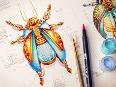 Creative Steampunk Watercolor by Creative Mints Art - Steampunk Ages Illustrations, Illustration Art, Steampunk, Arte Sketchbook, Behance, Game Design, Bugs, Concept Art, Character Design