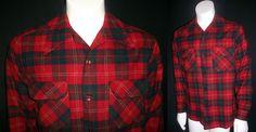VINTAGE 50s 60s PENDLETON VIRGIN WOOL ROCKABILLY RED NECK LOOP PLAID SHIRT sz M