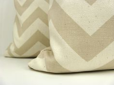 Pillows.Chevron Pillow Covers.Set of TWO 16x16. Tan and Cream.ZigZag Pillows.Decorative Throw pillows.Missoni.Printed fabric both sides