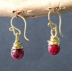 Victorian 167 Ruby Earrings by CalicoJunoJewelry on Etsy, $42.00