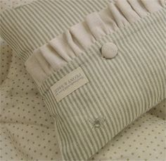 Handmade Frilled Cushion made with PEONY SAGE ~Bee Pinstripe French Grey~