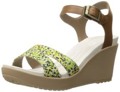 crocs Women's Leighii Anklestrap Graphic Wedge Sandal, Hazelnut/Gold, 4 M US