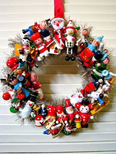 Vintage Christmas Wreath with wooden toys