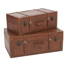 2 BARYTON imitation leather trunks in brown W 62cm and W 72cm