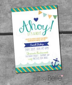 Nautical Baby Shower Ahoy It's A Boy Collection Printable Invitation by ItsyBelle
