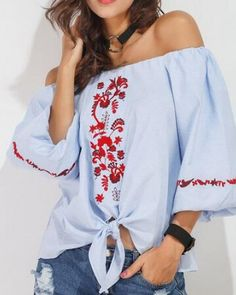 Flower embroidered t shirt three quarter sleeve off the shoulder tops for women