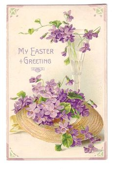 Vintage Easter Postcard Straw Hat with Violets (Image1)