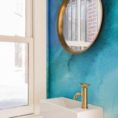 Ocean Blue Powder Room with Gold Mirror
