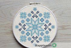 modern cross stitch pattern, geometric ornament, traditional folk, snowflakes, nordic, folk art, PDF ** instant download**