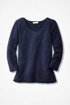 Classic Textured Sweater, Navy