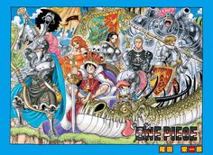 """The Straw Hat Pirates in medieval attire along with a green dragon"""