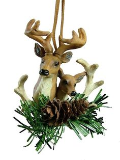 Deer Pair Head Pine Cone Hunting Hunter Camo Camouflage Christmas Tree Ornament
