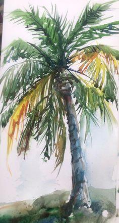 Palm tree practice – Margaret McCarthy Hunt Art Tree Drawings Pencil, Palm Tree Drawing, Tree Watercolor Painting, Tree Stencil, Hunting Art, Palmiers, Tropical Art, Tree Art, Watercolor Illustration