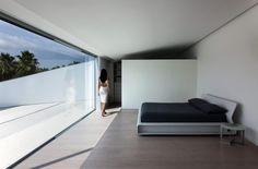 Balint House is a contemporary house designed by Fran Silvestre Arquitectos and is located in Betera, Valencia Minimal Architecture, Spanish Architecture, Interior Architecture, Modern Interior, Living Place, Interior Minimalista, White Curtains, Interiores Design, Interior Inspiration