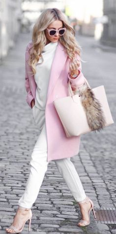 Love the pairing of white and pale pink - the looser top, all the accessories make it fun and interesting!