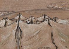 Ветер с моря (210*148, крафтовая бумага, маркеры, мел, соус, карандаши)