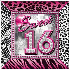 Sweet 16 Servetten - 20 stuks.