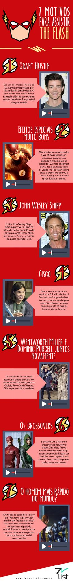 #Sevenlist #Infográfico #Infographic #List #Lista #Illustration #TVShow #Movie #Film #Cine #Seriado #Série #Quadrinho #HQ #Herói #Hero #SuperHerói #SuperHero #Flash #TheFlash #OHomemMaisRápidodoMundo #GrantHustin #EfeitosEspeciais #JohnWesleyShipp #CiscoRamon #Wentworth MillereDominic Purcell #Crossovers