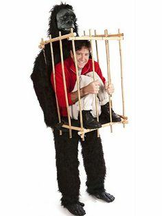 Gorilla and Guy in a Cage Funny Halloween Costume - I'm a sucker for costumes that look like multiple things or people, and this one's pretty sweet. #ad
