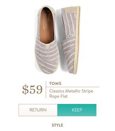 TOMS Classics Metallic Stripe Rope Flat from Stitch Fix. I would love striped Toms! Meg wears a 6 in toms
