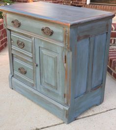 Chrissie's Collection - Custom Painted Furniture. Milk Painted Washstand, peacock blue , heavy distressing