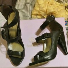 "Botkier  -Alexis -sexy black sandals Size 9   4.5""heel 3 straps with black buckles.snake embossed heel and back closure.1/2 ""platform.leather outer,insoles and outer sole.worn once Botkier Shoes Heels"