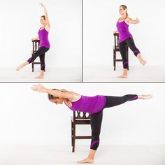 Barre Workout: Reaching Rond de Jambe - Home Workout Plan: 7 Ballet-Inspired Moves for Long, Lean Muscles - Shape Magazine Barre Exercises At Home, Chair Exercises, At Home Workouts, Fitness Exercises, Stretches, Ballet Barre Workout, Cardio Barre, Ballerina Workout, Ballerina Moves
