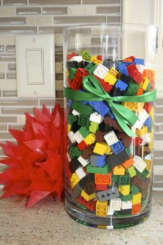 Lego blocks in glass vases as decoration.