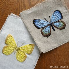 Appliqué with embroidery- Butterfly Butterfly Embroidery, Ribbon Embroidery, Embroidery Art, Cross Stitch Embroidery, Embroidery Patterns, Machine Embroidery, Embroidered Butterflies, Embroidery Software, Thread Art