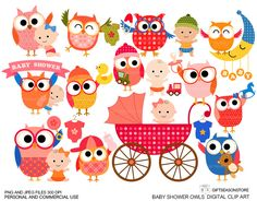 Baby shower owls Digital clip art for Personal by Giftseasonstore, $2.00