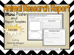 FREEBIE! **RECENTLY UPDATED** This mini poster has everything your students need to help organize information for an animal research report! Students complete the poster and report template with information and illustrations. Great for grades 1-3!