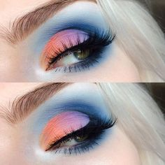 WEBSTA @ beautsoup - pastel sunset cut-crease with the gorgeous new @katvondbeauty 'Pastel Goth' palette , 'Star', Clementine', 'Meow', 'Dope'