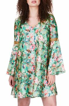 ELVI Bell Sleeve Floral Shift Dress (Plus Size)