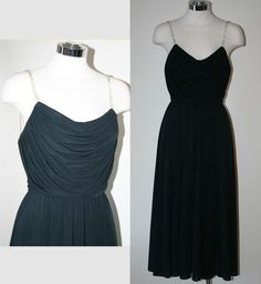 Vintage 70's Black Party Dress with Rhinestone Straps