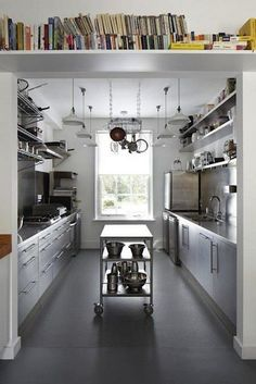 Right now galley kitchens are prevalent in an apartment or small home. Galley kitchen remodel ideas must be efficient for cooking also for the meal space. Bakery Kitchen, Restaurant Kitchen, New Kitchen, Island Kitchen, Kitchen Small, Kitchen Ideas, Kitchen Tools, Narrow Kitchen, Moveable Kitchen Island