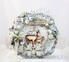 Here comes a new card from me, with gorgeous flowers from Wild Orchid Crafts! The beautiful image is from Stempelgl. Christmas Rose, Magical Christmas, Christmas Crafts, Christmas Decorations, Wild Orchid, Winter Cards, Flower Crafts, Mixed Media Art, Winter Wonderland
