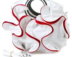 Stylish White, Vibrant Red Large Ruffle Double Handle Satchel Hobo Handbag w/Shoulder Strap -