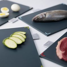 The Index™ 100 chopping board set comes in a stylish stainless steel case and includes four cutting boards with tabs to indicate which type of food should be prepared on them to help reduce cross-contamination. Cutting Board Storage, Plastic Cutting Board, Cutting Boards, Pink Recipe Box, Specialty Knives, Joseph Joseph, Valentines Food, Brushed Stainless Steel
