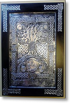 Celtic Tree Of Life Metal Print by Cacaio Tavares. All metal prints are professionally printed, packaged, and shipped within 3 - 4 business days and delivered ready-to-hang on your wall. Choose from multiple sizes and mounting options. Tree Of Life Art, Celtic Tree Of Life, Celtic Symbols, Celtic Art, Celtic Knots, Celtic Decor, Celtic Crafts, Mayan Symbols, Celtic Dragon