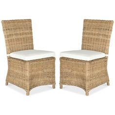 Ellerie Set of 2 Dining Chairs, Quick Ship ($499) ❤ liked on Polyvore featuring home, furniture, chairs, dining chairs, natural, set of two chairs, woven furniture, pair chairs, weave chair and twin pack