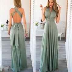 Stylish Open Back Women Long Maxi Dress
