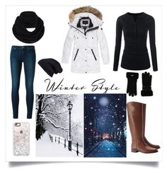 """""""winter snow"""" by a-hidden-secret ❤ liked on Polyvore featuring J Brand, Andrew Marc, prAna, Halogen, UGG, Tory Burch and Casetify"""