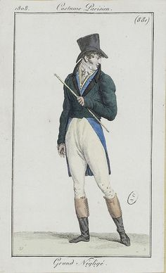 A handsome outfit. Costume parisien, 1808 Note the long tails on the waistcoat, while the jacket has none.