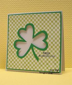 A simple shamrock jumps off the page when pop-dots are used to create dimensional negative space - love this handmade St Patrick's Day card!