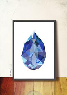 Geometric Art Sapphire, Gemstone Poster Art Print A3. Imaginary Precious Stone, dark blue, blue. Sapphire poster, TANGRAMartworks