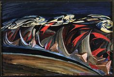 """Light + Sounds(Noise) of a Nocturnal Train/Speeding Train """"Luce + rumori do treno notturno"""" (1924) by Benedetta - Italian Futurism - Viewed as part of the exhibition """"Italian Futurism, 1909–1944: Reconstructing the Universe at the Guggenheim Museum, NYC, NY 3/1/14"""